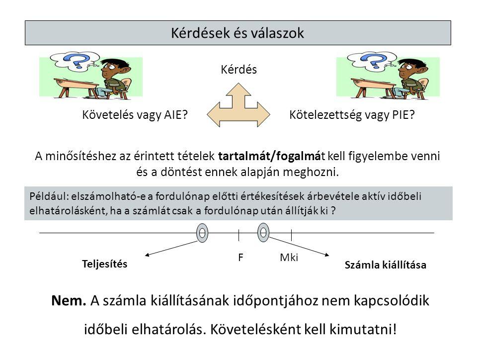 Kérdés Követelés vagy AIE?Kötelezettség vagy PIE? Kérdések és válaszok A minősítéshez az érintett tételek tartalmát/fogalmát kell figyelembe venni és