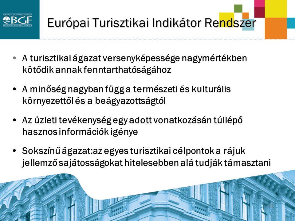 15 Európai Turisztikai Indikátor Rendszer A turisztikai ágazat versenyképessége nagymértékben kötődik annak fenntarthatóságához A minőség nagyban függ