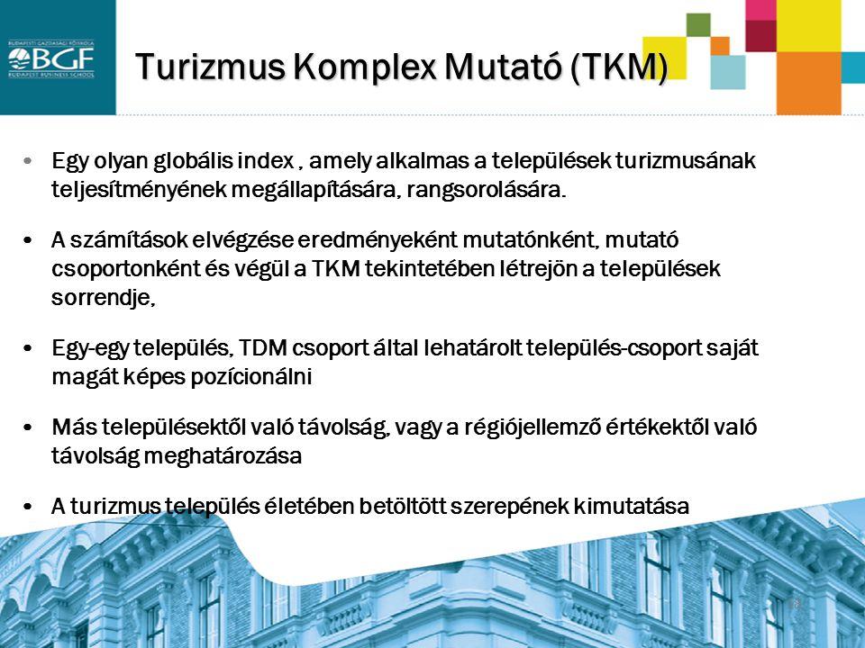 18 Turizmus Komplex Mutató (TKM) Egy olyan globális index, amely alkalmas a települések turizmusának teljesítményének megállapítására, rangsorolására.