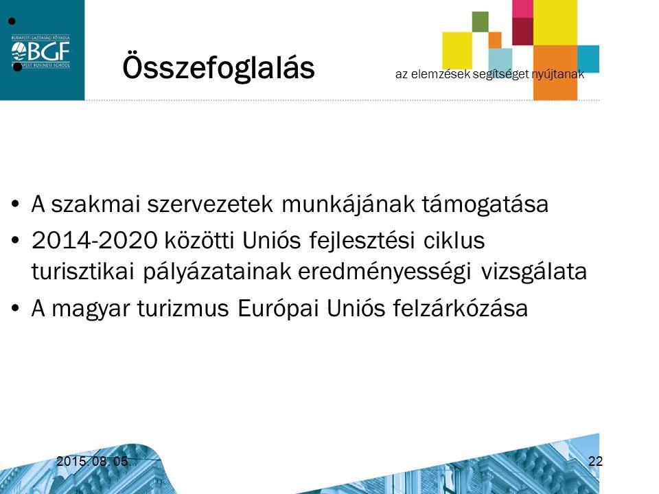 Összefoglalás az elemzések segítséget nyújtanak A szakmai szervezetek munkájának támogatása 2014-2020 közötti Uniós fejlesztési ciklus turisztikai pál