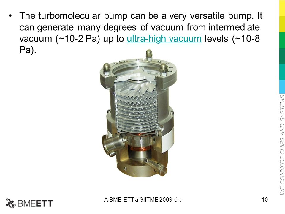 The turbomolecular pump can be a very versatile pump. It can generate many degrees of vacuum from intermediate vacuum (~10-2 Pa) up to ultra-high vacu