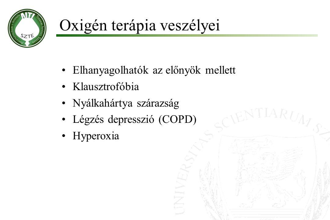 Oxigén terápia veszélyei Molnár '99 Elhanyagolhatók az előnyök mellett Klausztrofóbia Nyálkahártya szárazság Légzés depresszió (COPD) Hyperoxia