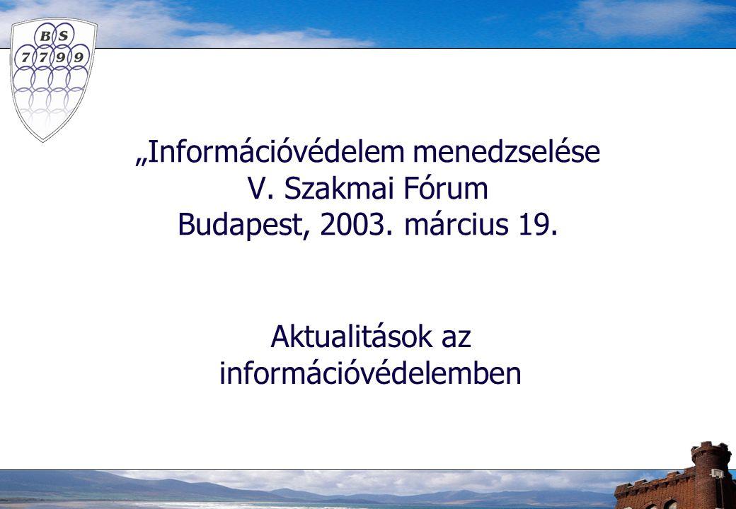 """""""Információvédelem menedzselése V. Szakmai Fórum Budapest, 2003. március 19. Aktualitások az információvédelemben"""