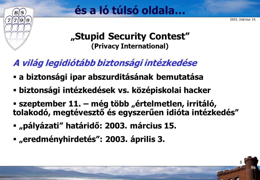 """2003. március 19. 8 és a ló túlsó oldala… """"Stupid Security Contest"""" (Privacy International) A világ legidiótább biztonsági intézkedése  a biztonsági"""