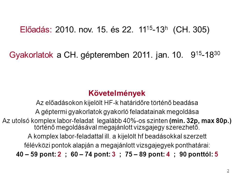 2 Előadás: 2010. nov. 15. és 22. 11 15 -13 h (CH.