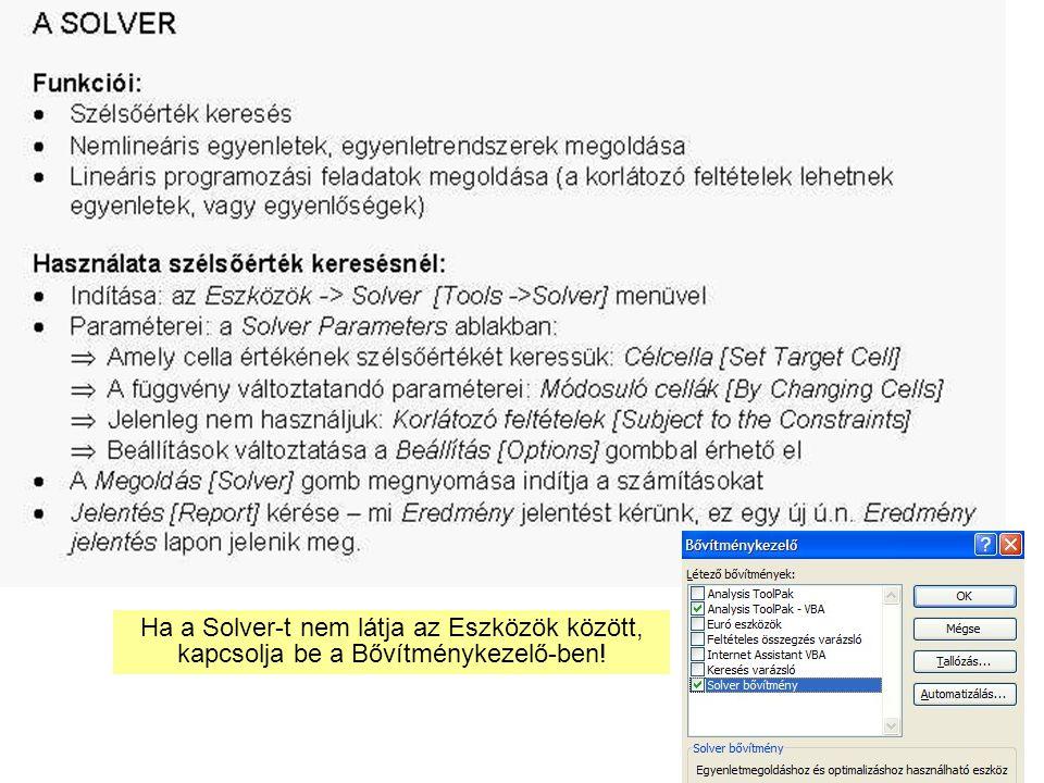 8 Ha a Solver-t nem látja az Eszközök között, kapcsolja be a Bővítménykezelő-ben!