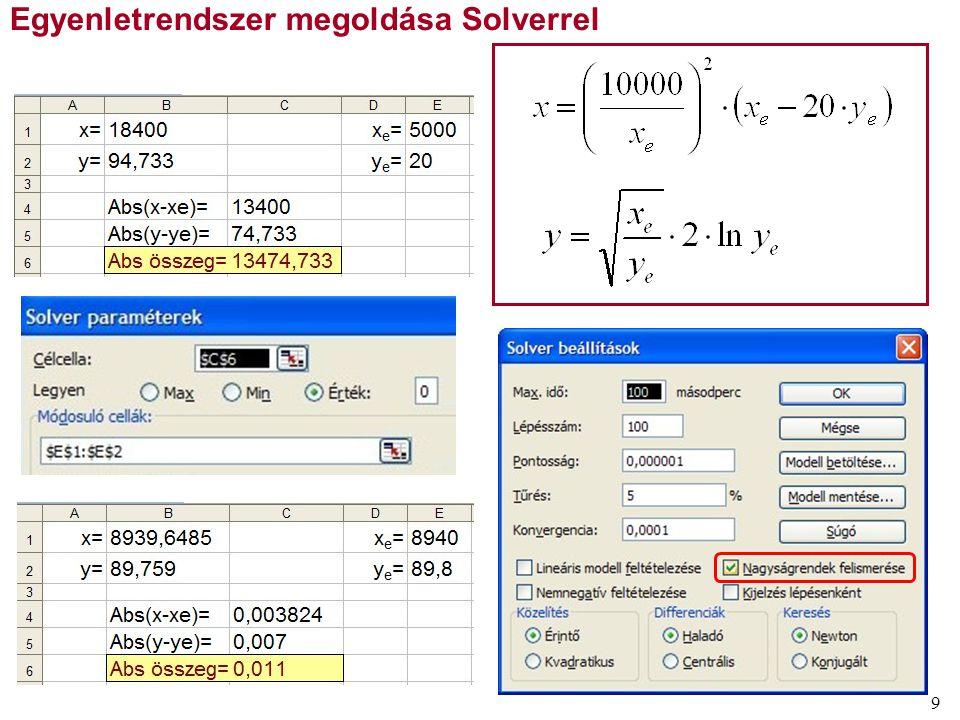 9 Egyenletrendszer megoldása Solverrel