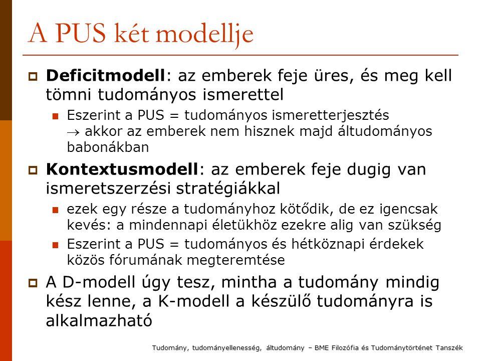A PUS két modellje  Deficitmodell: az emberek feje üres, és meg kell tömni tudományos ismerettel Eszerint a PUS = tudományos ismeretterjesztés  akkor az emberek nem hisznek majd áltudományos babonákban  Kontextusmodell: az emberek feje dugig van ismeretszerzési stratégiákkal ezek egy része a tudományhoz kötődik, de ez igencsak kevés: a mindennapi életükhöz ezekre alig van szükség Eszerint a PUS = tudományos és hétköznapi érdekek közös fórumának megteremtése  A D-modell úgy tesz, mintha a tudomány mindig kész lenne, a K-modell a készülő tudományra is alkalmazható Tudomány, tudományellenesség, áltudomány – BME Filozófia és Tudománytörténet Tanszék