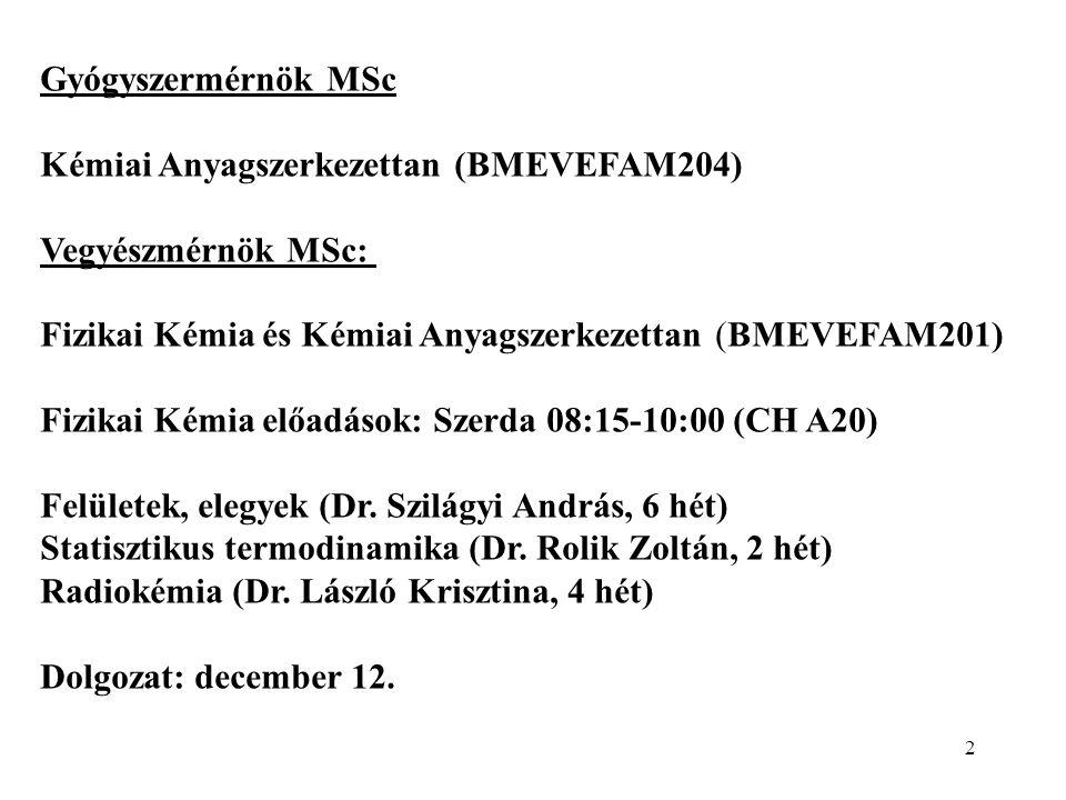2 Gyógyszermérnök MSc Kémiai Anyagszerkezettan (BMEVEFAM204) Vegyészmérnök MSc: Fizikai Kémia és Kémiai Anyagszerkezettan (BMEVEFAM201) Fizikai Kémia előadások: Szerda 08:15-10:00 (CH A20) Felületek, elegyek (Dr.