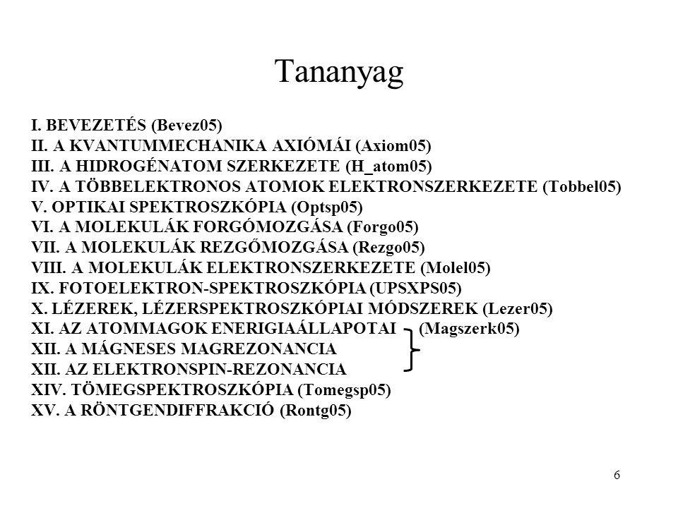 Tananyag I. BEVEZETÉS (Bevez05) II. A KVANTUMMECHANIKA AXIÓMÁI (Axiom05) III.