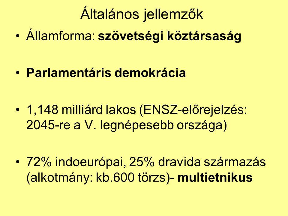 Általános jellemzők Államforma: szövetségi köztársaság Parlamentáris demokrácia 1,148 milliárd lakos (ENSZ-előrejelzés: 2045-re a V. legnépesebb orszá