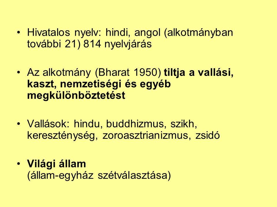 Hivatalos nyelv: hindi, angol (alkotmányban további 21) 814 nyelvjárás Az alkotmány (Bharat 1950) tiltja a vallási, kaszt, nemzetiségi és egyéb megkül