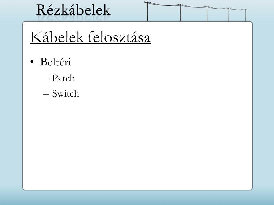 Kábelek felosztása Beltéri –Patch –Switch