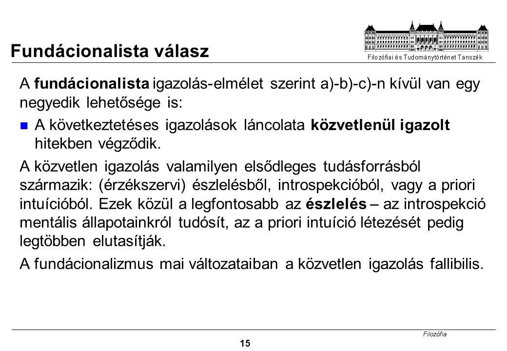 Filozófia 15 A fundácionalista igazolás-elmélet szerint a)-b)-c)-n kívül van egy negyedik lehetősége is: A következtetéses igazolások láncolata közvet