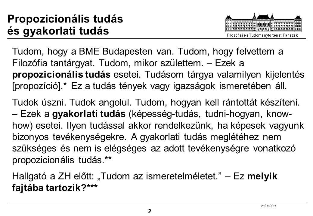 Filozófia 2 Tudom, hogy a BME Budapesten van. Tudom, hogy felvettem a Filozófia tantárgyat. Tudom, mikor születtem. – Ezek a propozicionális tudás ese