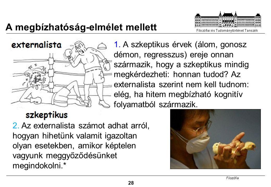Filozófia 28 1. A szkeptikus érvek (álom, gonosz démon, regresszus) ereje onnan származik, hogy a szkeptikus mindig megkérdezheti: honnan tudod? Az ex