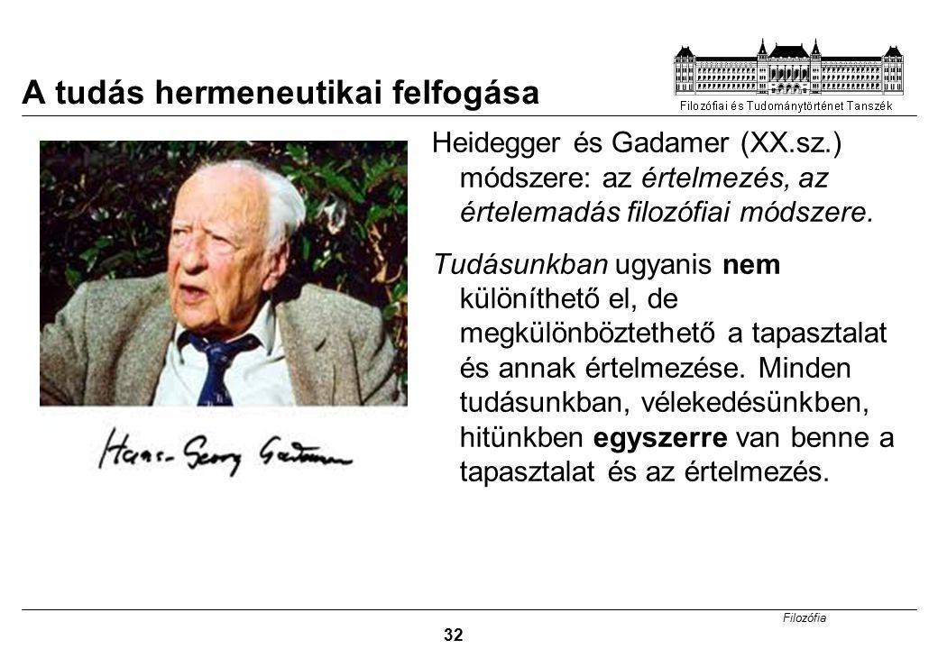 Filozófia 32 A tudás hermeneutikai felfogása Heidegger és Gadamer (XX.sz.) módszere: az értelmezés, az értelemadás filozófiai módszere. Tudásunkban ug