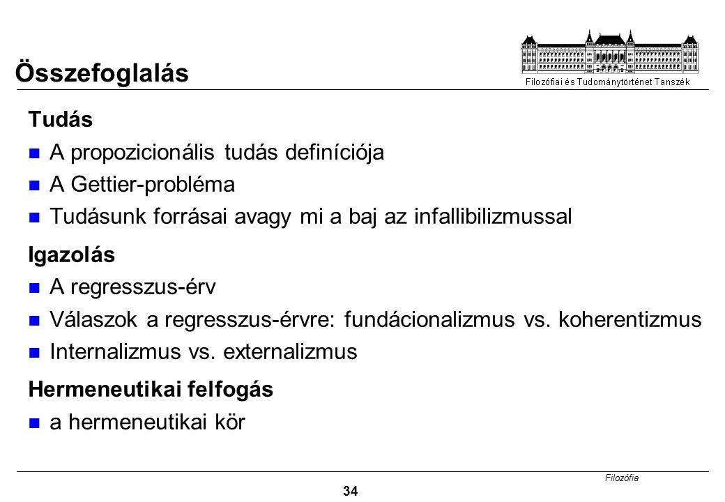 Filozófia 34 Tudás A propozicionális tudás definíciója A Gettier-probléma Tudásunk forrásai avagy mi a baj az infallibilizmussal Igazolás A regresszus