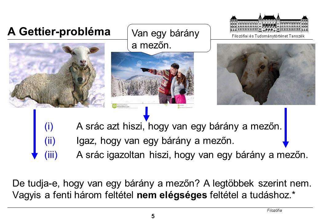 Filozófia 5 (i)A srác azt hiszi, hogy van egy bárány a mezőn. (ii)Igaz, hogy van egy bárány a mezőn. (iii) A srác igazoltan hiszi, hogy van egy bárány