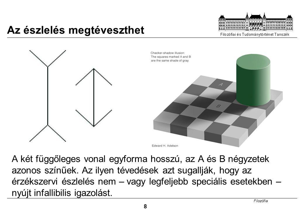 Filozófia 8 A két függőleges vonal egyforma hosszú, az A és B négyzetek azonos színűek. Az ilyen tévedések azt sugallják, hogy az érzékszervi észlelés