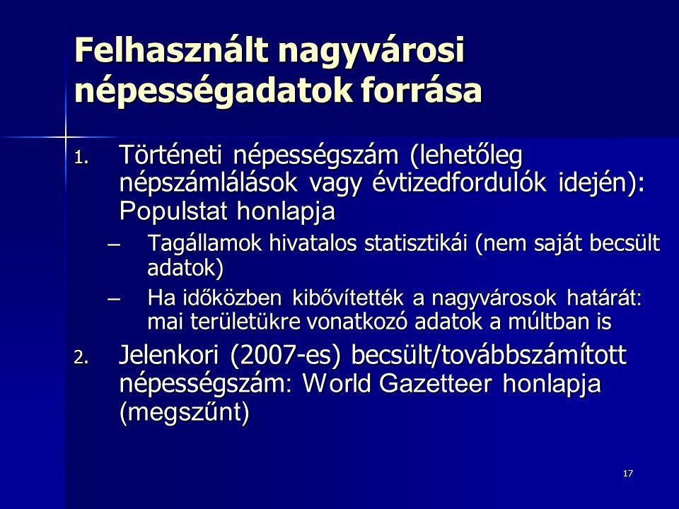 17 Felhasznált nagyvárosi népességadatok forrása 1. Történeti népességszám (lehetőleg népszámlálások vagy évtizedfordulók idején): Populstat honlapja