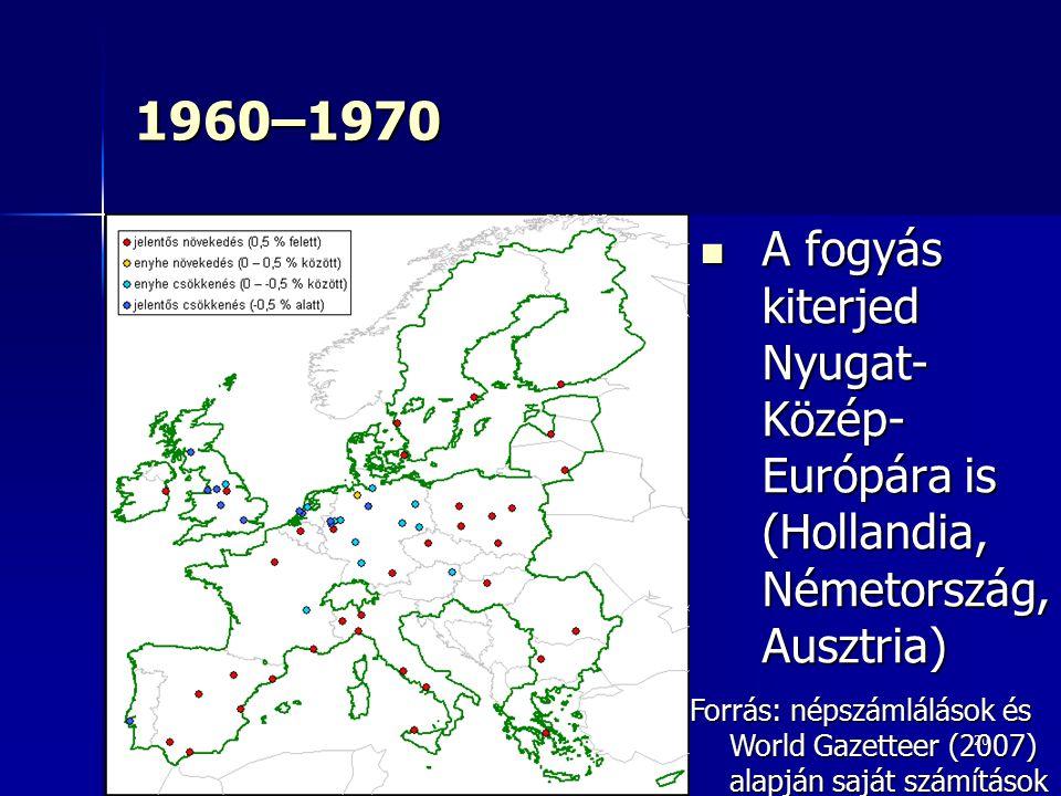 20 1960–1970 A fogyás kiterjed Nyugat- Közép- Európára is (Hollandia, Németország, Ausztria) A fogyás kiterjed Nyugat- Közép- Európára is (Hollandia,