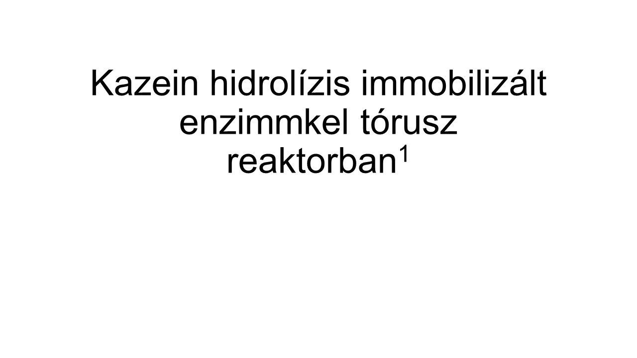 Szabad és immobilizált proteáz aktivitás Szabad proteáz XIX specifikus aktivitása [E]: 0.05; 0.1; 0.2; 0.35 mg/ml [S]: 5mg/ml Specifikus aktivitás: 0.940U/g (1 U(unit): 1 g enzim, amely 1 µmol peptidkötést hasít 1 perc alatt) Nagy átmérőjű gyöngyre immobilizált proteáz XIX specifikus aktivitása [E]: 20; 40; 70; 100 mg/ml [S]: 5mg/ml Specifikus aktivitás: 0,042 A szabad enzim specifikus aktivitásának mindössze 4,5%-a