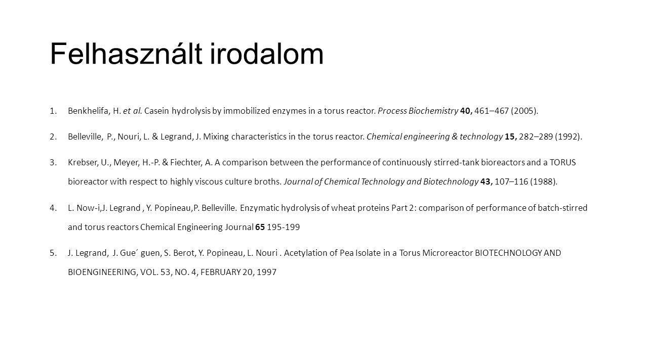 Felhasznált irodalom 1.Benkhelifa, H. et al. Casein hydrolysis by immobilized enzymes in a torus reactor. Process Biochemistry 40, 461–467 (2005). 2.B