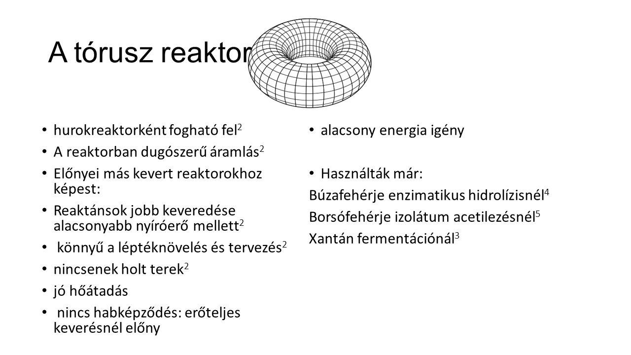 A tórusz reaktor hurokreaktorként fogható fel 2 A reaktorban dugószerű áramlás 2 Előnyei más kevert reaktorokhoz képest: Reaktánsok jobb keveredése al