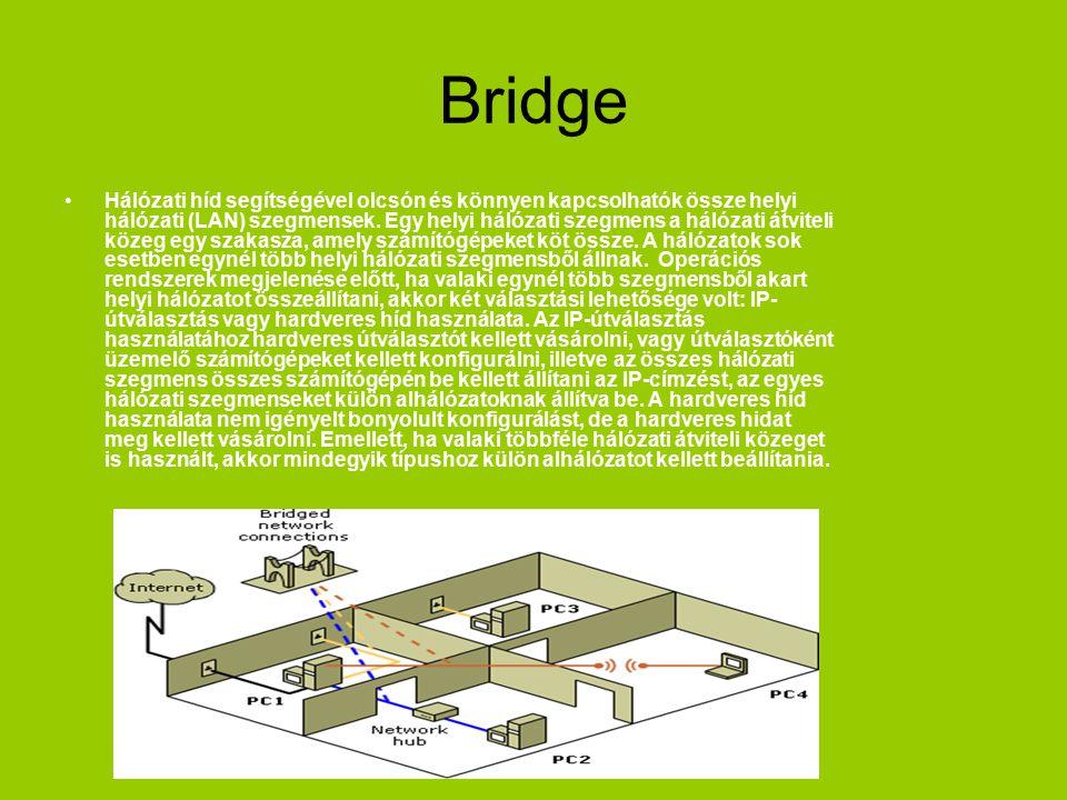 Bridge Hálózati híd segítségével olcsón és könnyen kapcsolhatók össze helyi hálózati (LAN) szegmensek. Egy helyi hálózati szegmens a hálózati átviteli