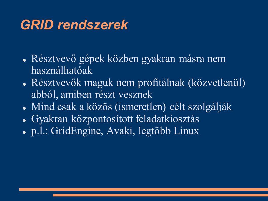 GRID rendszerek Résztvevő gépek közben gyakran másra nem használhatóak Résztvevők maguk nem profitálnak (közvetlenül) abból, amiben részt vesznek Mind csak a közös (ismeretlen) célt szolgálják Gyakran központosított feladatkiosztás p.l.: GridEngine, Avaki, legtöbb Linux