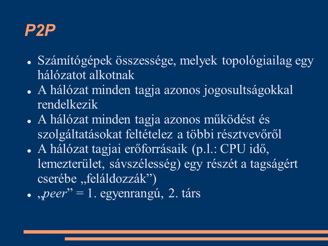 """P2P Számítógépek összessége, melyek topológiailag egy hálózatot alkotnak A hálózat minden tagja azonos jogosultságokkal rendelkezik A hálózat minden tagja azonos működést és szolgáltatásokat feltételez a többi résztvevőről A hálózat tagjai erőforrásaik (p.l.: CPU idő, lemezterület, sávszélesség) egy részét a tagságért cserébe """"feláldozzák ) """"peer = 1."""