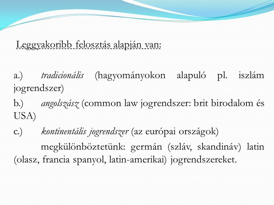 Leggyakoribb felosztás alapján van: a.)tradicionális (hagyományokon alapuló pl.