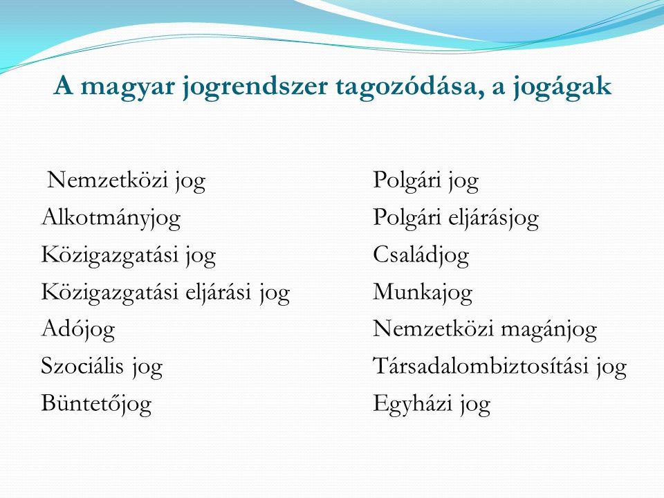 A magyar jogrendszer tagozódása, a jogágak Nemzetközi jogPolgári jog AlkotmányjogPolgári eljárásjog Közigazgatási jogCsaládjog Közigazgatási eljárási jogMunkajog AdójogNemzetközi magánjog Szociális jogTársadalombiztosítási jog BüntetőjogEgyházi jog