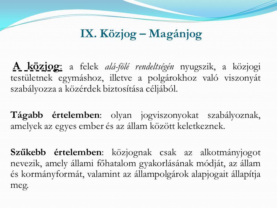 IX. Közjog – Magánjog A közjog: a felek alá-fölé rendeltségén nyugszik, a közjogi testületnek egymáshoz, illetve a polgárokhoz való viszonyát szabályo
