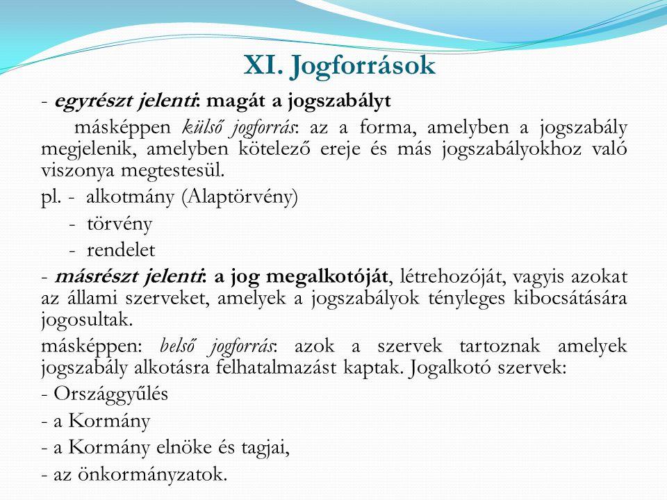XI. Jogforrások - egyrészt jelenti: magát a jogszabályt másképpen külső jogforrás: az a forma, amelyben a jogszabály megjelenik, amelyben kötelező ere