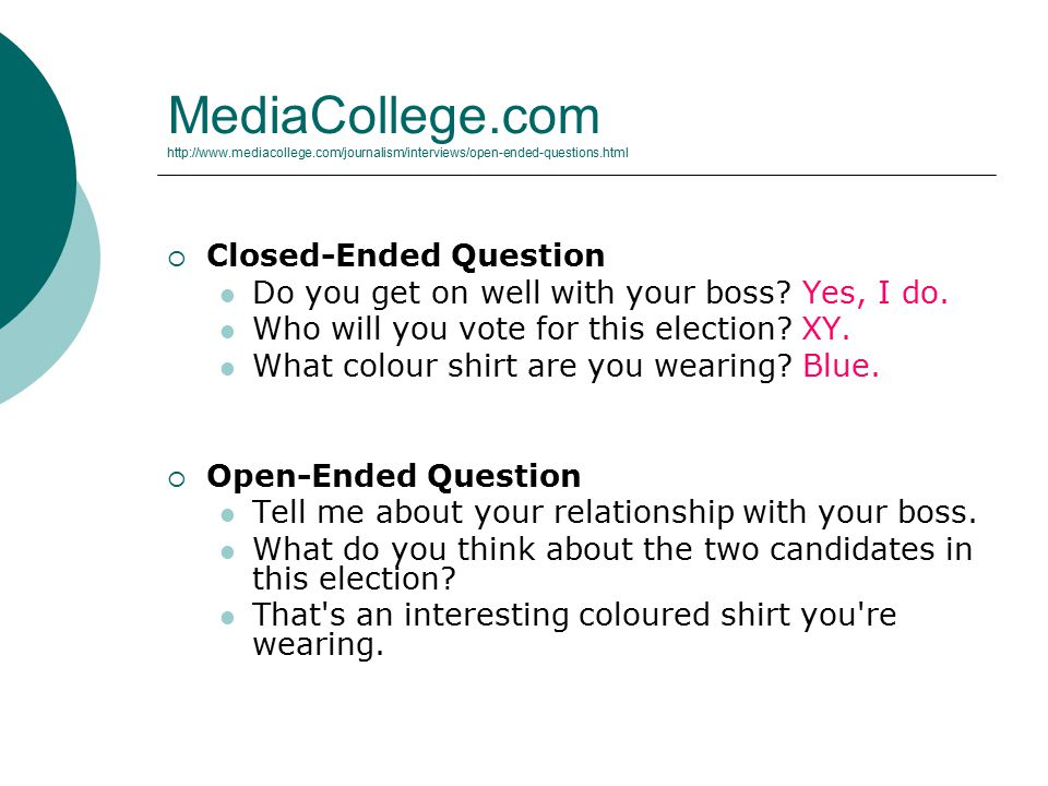 MediaCollege.com http://www.mediacollege.com/journalism/interviews/open-ended-questions.html  Closed-Ended Question Do you get on well with your boss.