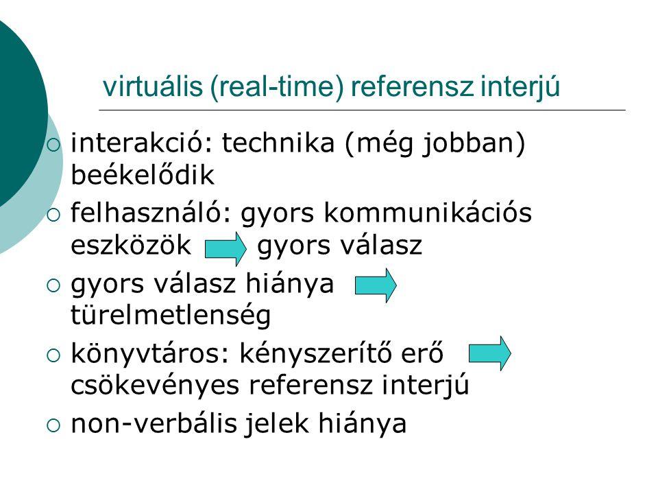 virtuális (real-time) referensz interjú  interakció: technika (még jobban) beékelődik  felhasználó: gyors kommunikációs eszközök gyors válasz  gyor
