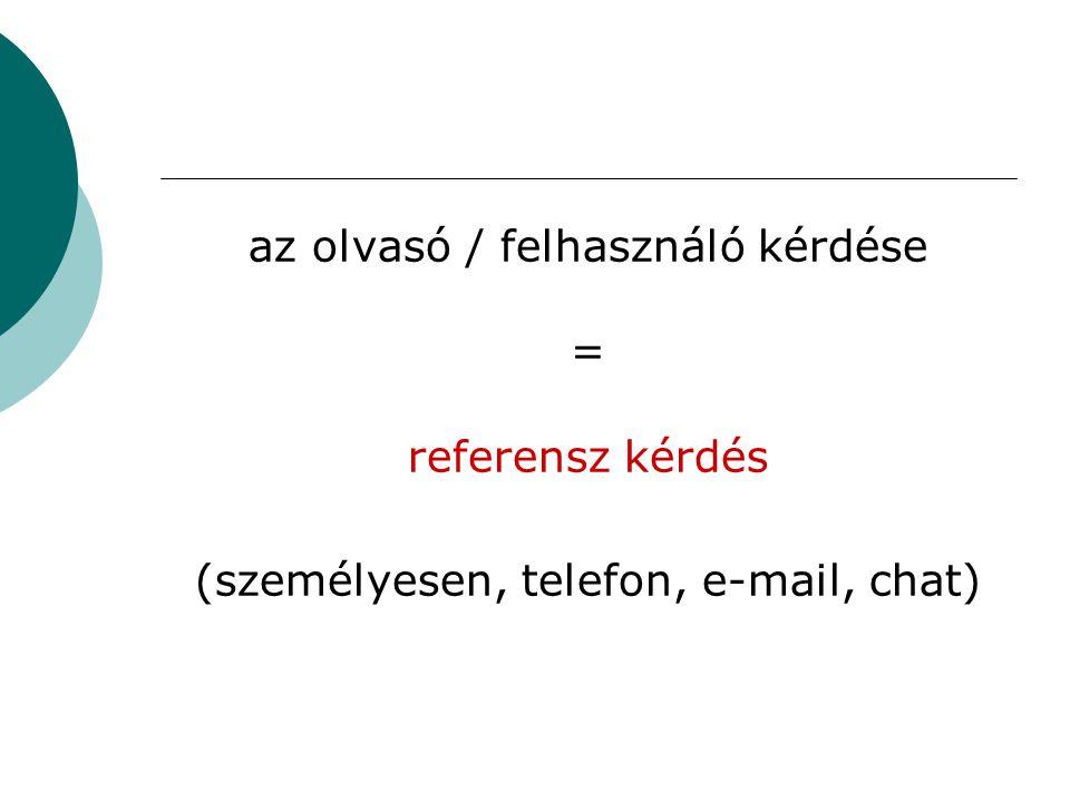 az olvasó / felhasználó kérdése = referensz kérdés (személyesen, telefon, e-mail, chat)