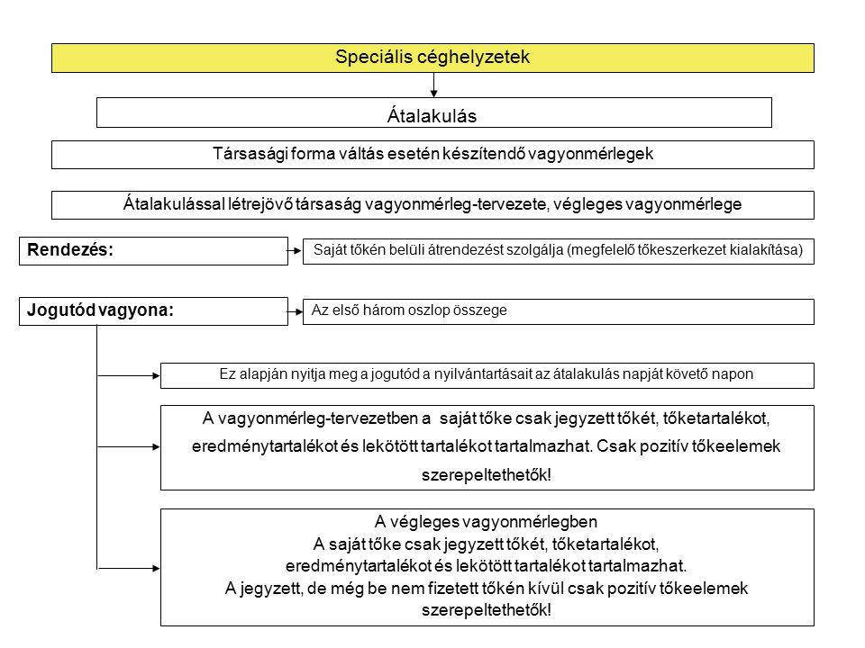 Speciális céghelyzetek Egyesülés esetén készítendő vagyonmérlegek Beolvadó, átvevő és a beolvadással létrejött társaság vagyonmérleg-tervezete, végleges vagyonmérlege (fejléc) Átalakulás Könyv szerinti érték Átértékelés hatása Vagyonértékelés szerinti érték Beolvadó társaság Könyv szerinti érték Átértékelés hatása Könyv szerinti érték Átvevő vagyona könyv szerinti értéken Beolvadó vagyona vagyonértékelés szerinti értéken KülönbözetekRendezés Jogutód vagyona Átvevő társaság Beolvadással létrejött társaság
