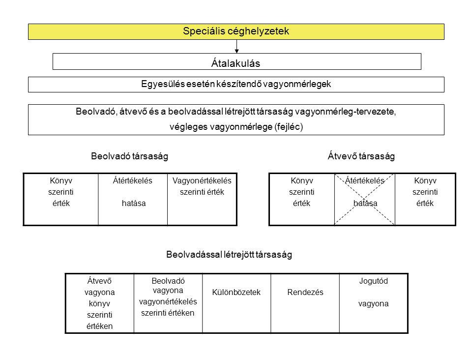 """Speciális céghelyzetek Egyesülés esetén készítendő vagyonmérlegek Összeolvadó társaságok és az összeolvadással létrejött társaság vagyonmérleg-tervezete, végleges vagyonmérlege (fejléc) Átalakulás Könyv szerinti érték Átértékelés hatása Vagyonértékelés szerinti érték Összeolvadó """"A társaság Könyv szerinti érték Átértékelés hatása Vagyonértékelés szerinti érték Összeolvadó """"A vagyona vagyonértékelés szerinti értéken Összeolvadó """"B vagyona vagyonértékelés szerinti értéken KülönbözetekRendezés Összeolvadással létrejött """"C társaság vagyona Összeolvadó """"B társaság Összeolvadással létrejött """"C társaság"""