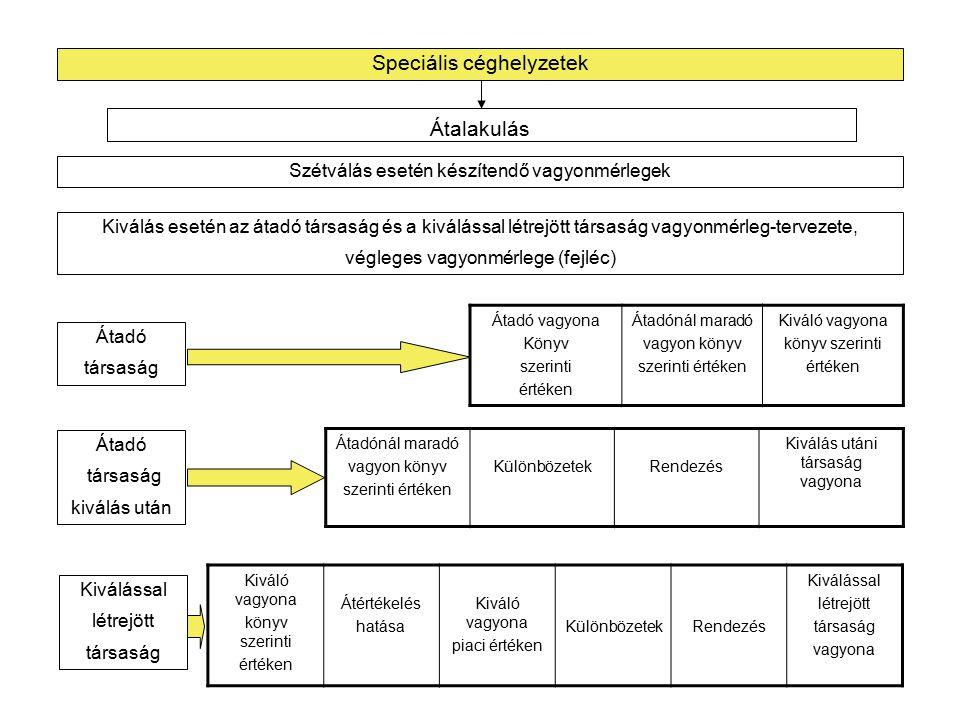 """Speciális céghelyzetek Szétválás esetén készítendő vagyonmérlegek Különválás esetén a különváló társaság és a különválással létrejött társaságok vagyonmérleg-tervezete, végleges vagyonmérlege (fejléc) Átalakulás Különváló vagyona Könyv szerinti értéken Átértékelés hatása Különváló vagyona piaci értéken Különválással Létrejött """"A társaság vagyona piaci értéken Különválással Létrejött """"B társaság vagyona piaci értéken Átalakuló társaság Különválással létrejött """"A társaság vagyona piaci értéken KülönbözetekRendezés Különválással létrejött """"A társaság vagyona Szétválással létrejött """"A társaság Különválással Létrejött """"B társaság vagyona piaci értéken KülönbözetekRendezés Különválással Létrejött """"B társaság vagyona Szétválással létrejött """"B társaság"""