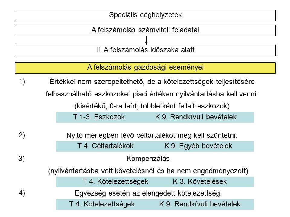 Speciális céghelyzetek A felszámolás számviteli feladatai II.
