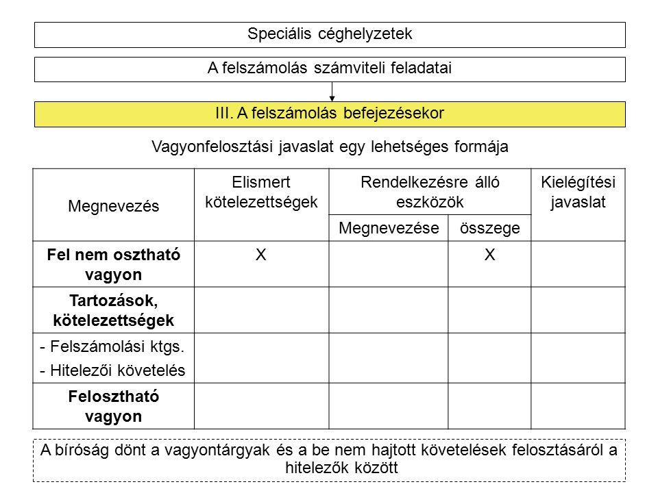 Speciális céghelyzetek A felszámolás számviteli feladatai III.