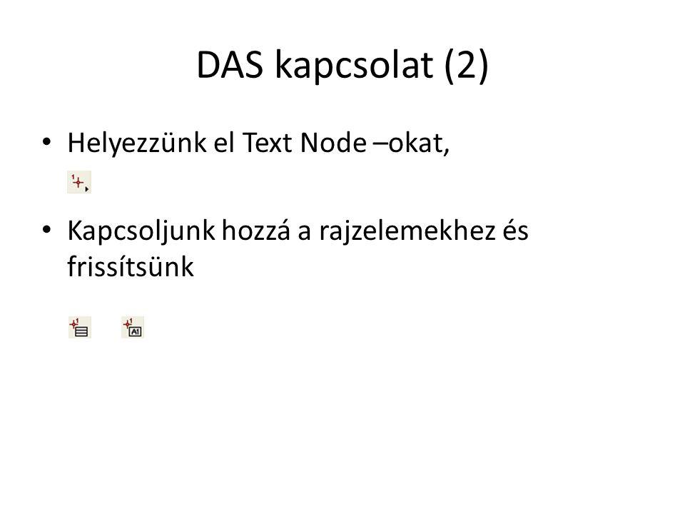 DAS kapcsolat (2) Helyezzünk el Text Node –okat, Kapcsoljunk hozzá a rajzelemekhez és frissítsünk