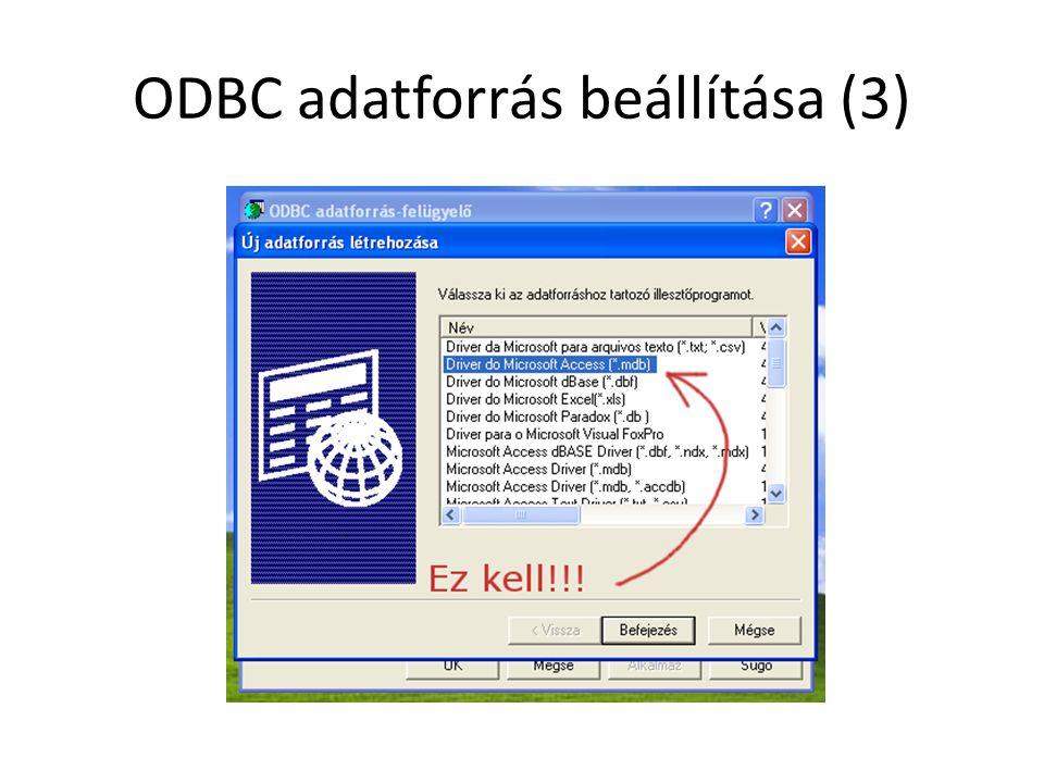 ODBC adatforrás beállítása (4)