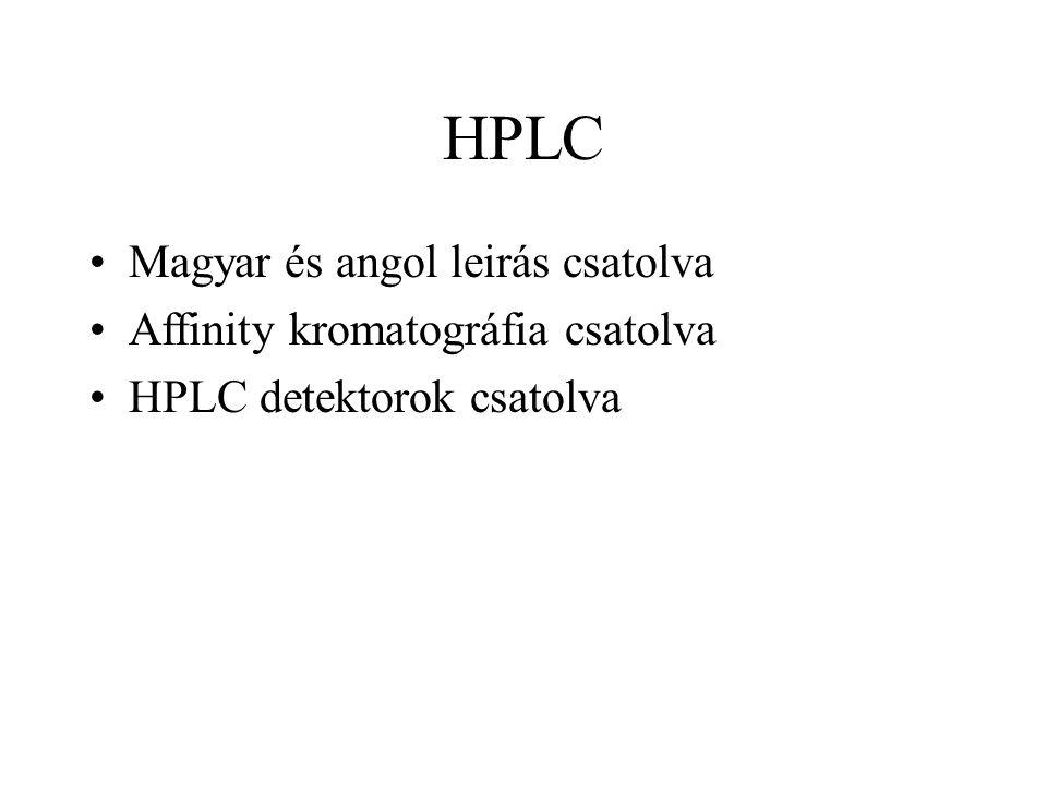HPLC Magyar és angol leirás csatolva Affinity kromatográfia csatolva HPLC detektorok csatolva