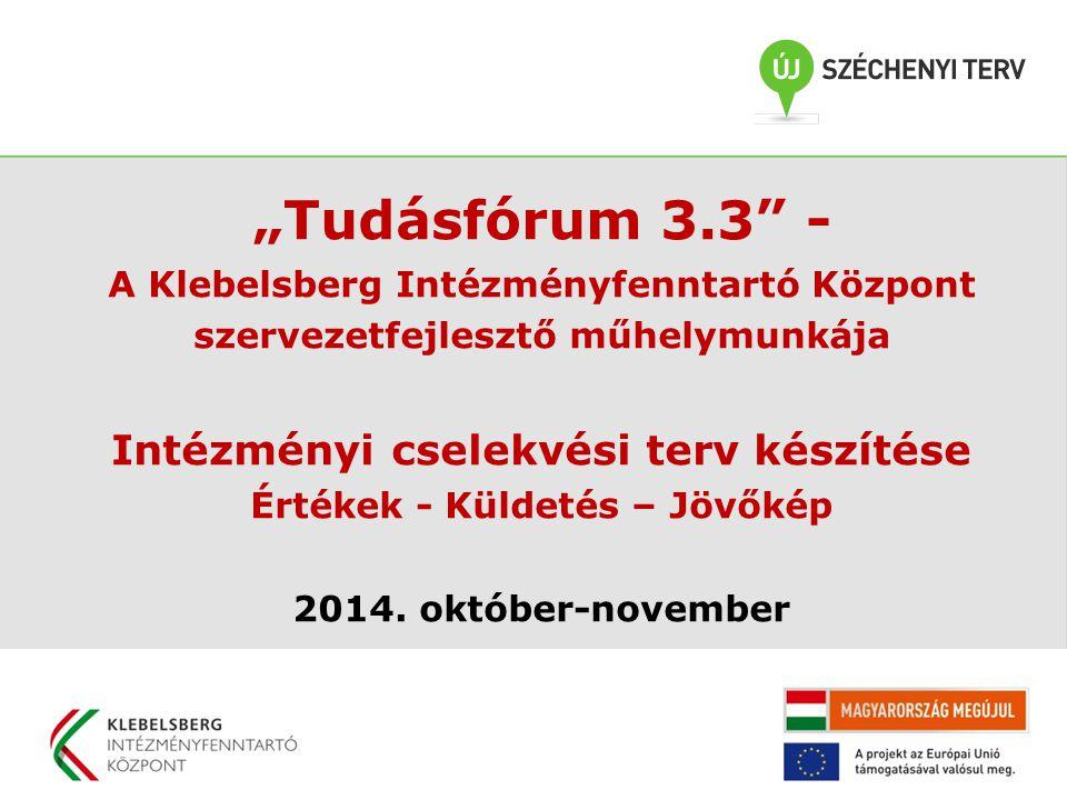 """""""Tudásfórum 3.3"""" - A Klebelsberg Intézményfenntartó Központ szervezetfejlesztő műhelymunkája Intézményi cselekvési terv készítése Értékek - Küldetés –"""