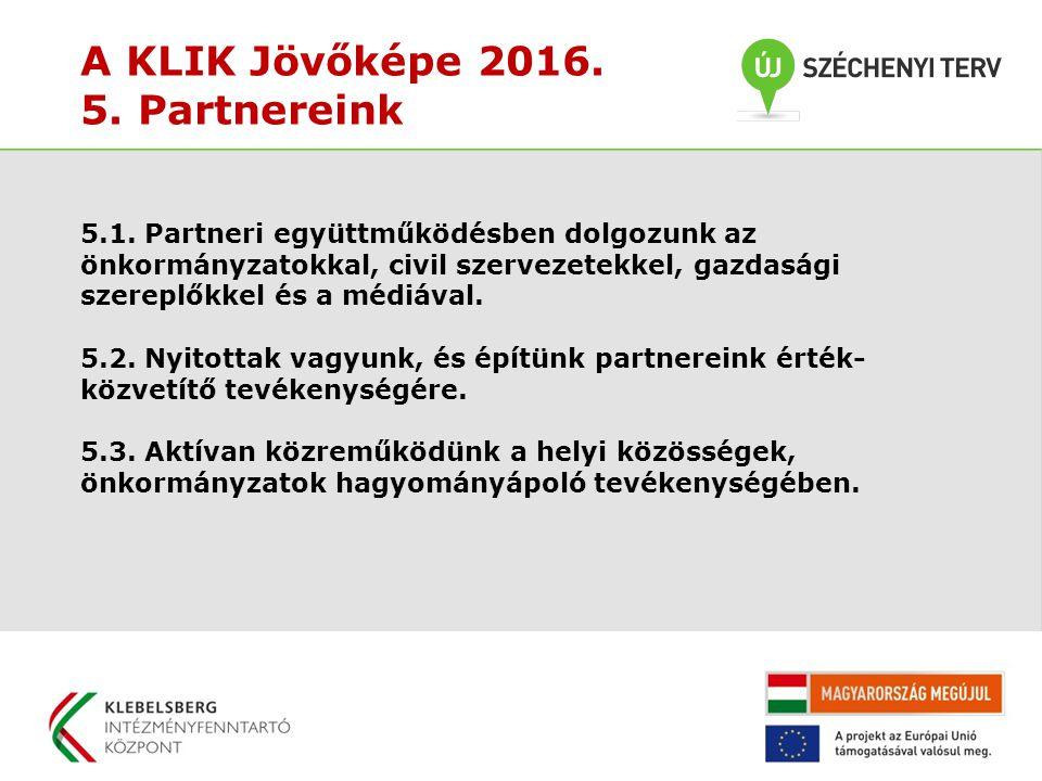 A KLIK Jövőképe 2016. 5. Partnereink 5.1. Partneri együttműködésben dolgozunk az önkormányzatokkal, civil szervezetekkel, gazdasági szereplőkkel és a
