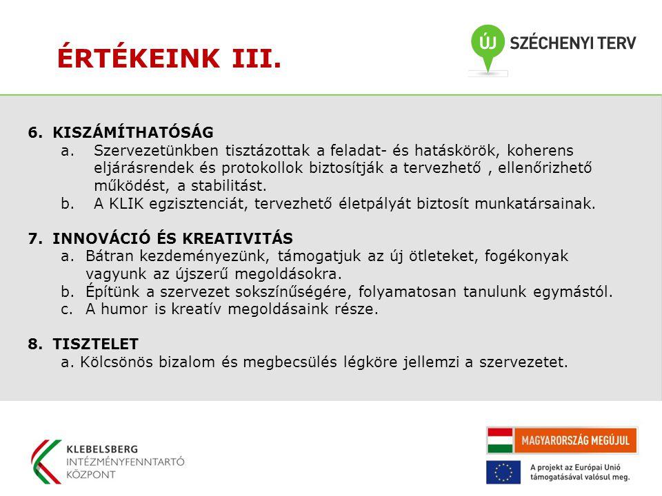 ÉRTÉKEINK III. 6.KISZÁMÍTHATÓSÁG a.Szervezetünkben tisztázottak a feladat- és hatáskörök, koherens eljárásrendek és protokollok biztosítják a tervezhe